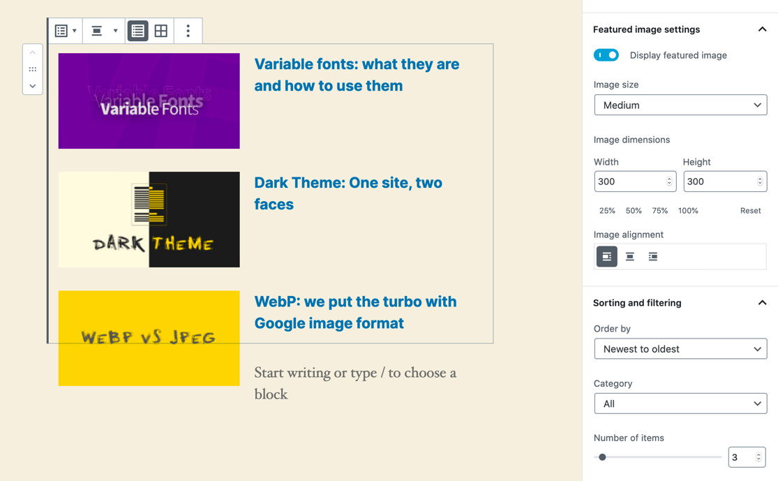 Block last articles in WordPress 5.4